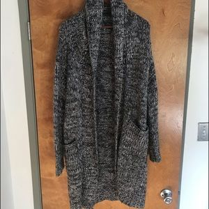 Hooded cozy sweater.